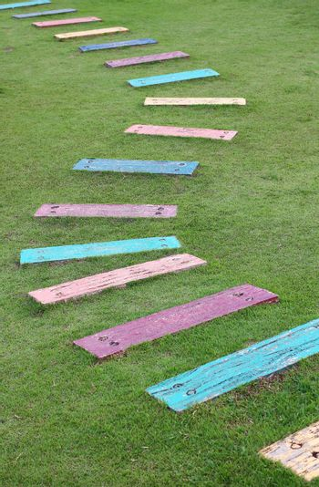 Colorful wooden pathway steps