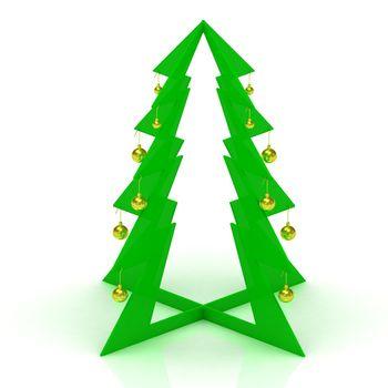 Cheap plastic Christmas tree with yellow balls