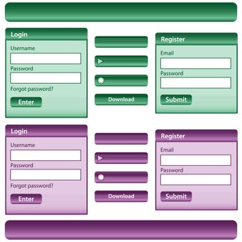 Web design template inc elements with login and register modules, buttons and menu bars in green and purple. Isolated on white.