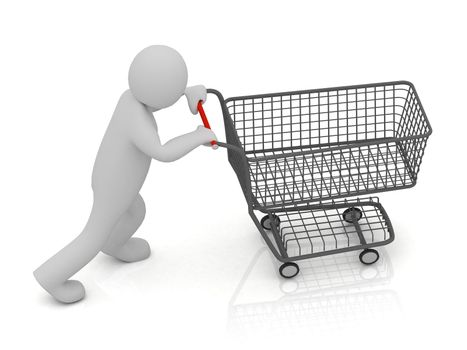 3D small man and shopping trolley cart isolated on a white background