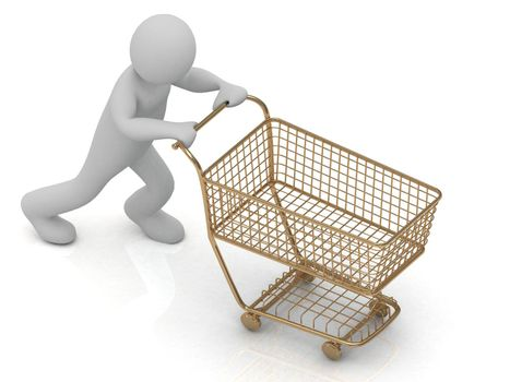 3D Little Human Character and gold shopping trolley (basket) in high definition isolated on a white background