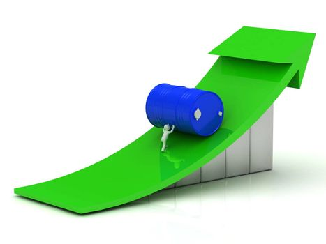 3D small man pushing up the barrel of oil on the chart with a green arrow