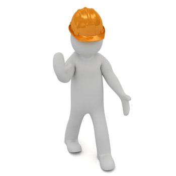 3D man in an orange construction helmet stops traffic