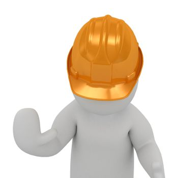 3D man in an orange construction helmet prevents move on and stop all hand raised. Abstract illustration isolated on white background