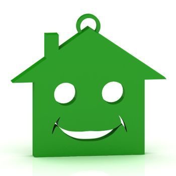 Keychain green house with a beautiful smile on white background