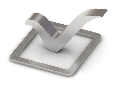 Check mark of steel 3d illustration over white background