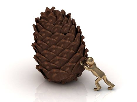 Golden 3D man pushes pine cones for the New Year holiday. Abstract illustration on a white background