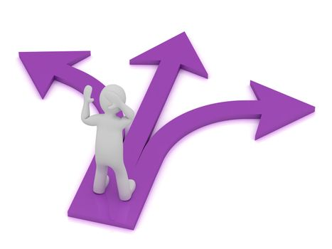 3D small Human Character at the intersection of three purple arrows on white background