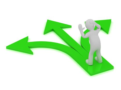 3D small man at the intersection of three green arrows on white background