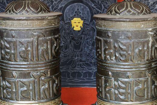 detail of prayer wheels in kathmandu, nepal