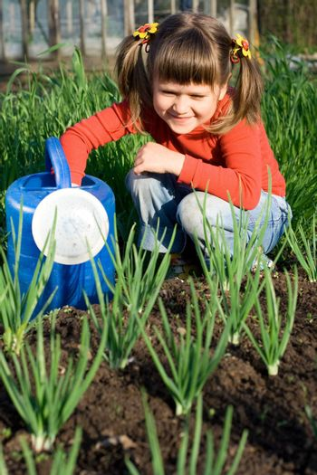 Little girl with watering can is sitting on the vegetable garden near onion patch