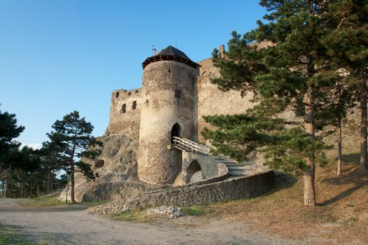 Medieval aged stone royal Boldogko castle of king Bella IV and noble family Rakoczi in Tokaj region Hungary on the blue sky background