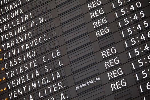 Black electronic train schedule close-up on railway station in Italy