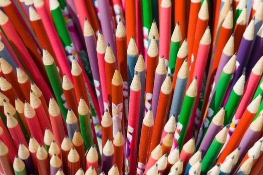 Decorated school pencils close-up