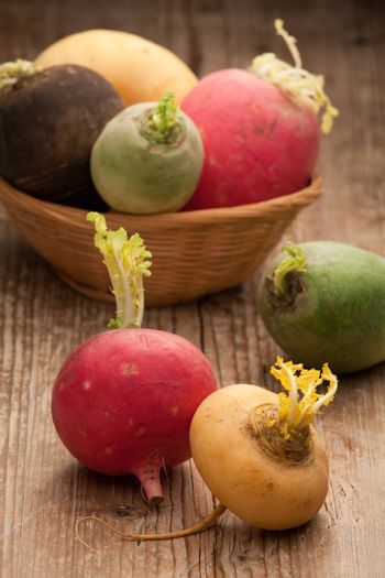 Group of ripe variegated radishes in rustic woven bowl on the old wooden board