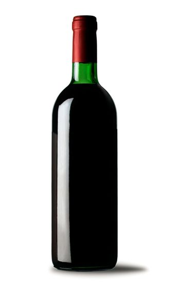Bottle of red wine on white background. File includes cliping path
