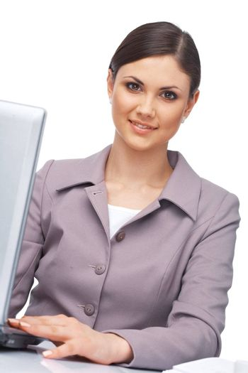 Closeup portrait of a young businesswoman with  her laptop