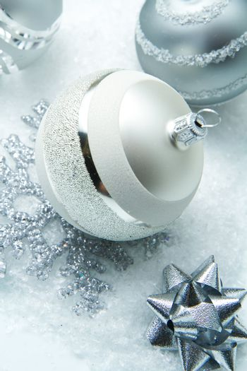 wintry silver Christmas decorations