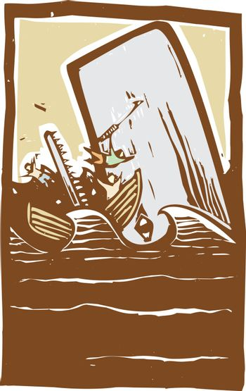Woodcut expressionist style image of a whale destroying a whaling boat.