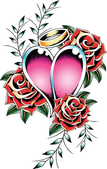 gothic heart and rose