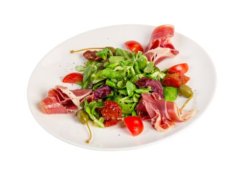 Salad from eruca and bacon