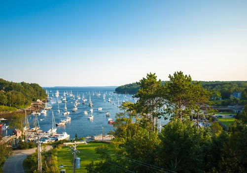 Harbor at Rockport, Maine seen from high