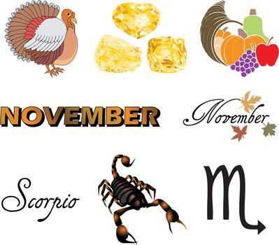 Vector Illustration of eight November Icons including birthstones, holidays and zodiac symbols.