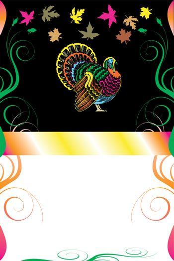 Vector Illustration of a Thanksgiving Background with Thanksgiving Turkey.