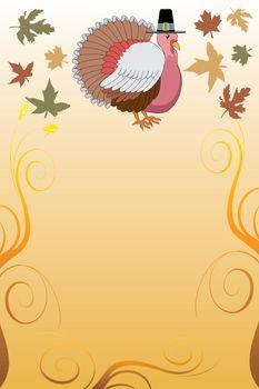 Vector Illustration of a Thanksgiving Turkey Pilgrim Background with harvest vegetables.