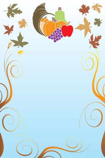 Vector Illustration of a Thanksgiving Background with harvest vegetables.