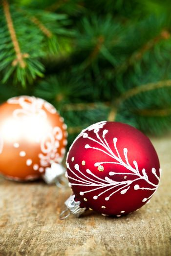 christmas decorations and fir tree