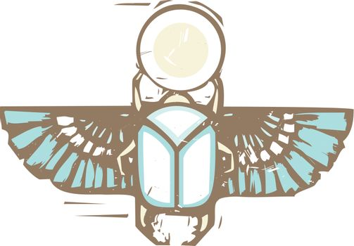 Woodcut style of an Egyptian winged scarab beetle holding the sun distressed in color.