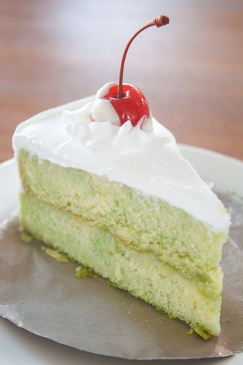 Green tea marble whipped cake topping cherry