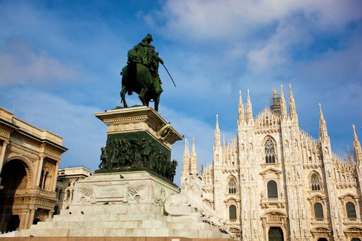 Milan Cathedral, Vittorio Emanuele II statue and Gallery. Italy