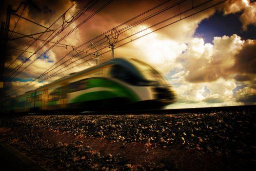 Modern train at fast speed. Transportation.