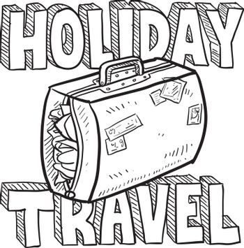 Doodle style holiday travel illustration with overstuffed suitcase and text message.  Vector format.