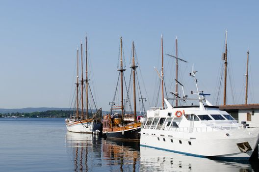 Sailing ships at dock in the Oslo