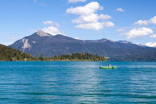 fisherman on alpine Walchensee