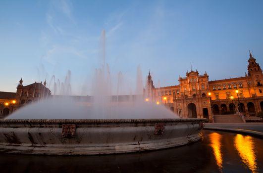 fountain by Plaza de Espana in Sevilla in night