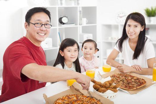 happy asian Family enjoy their dinner