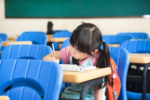 school girl study alone in the classroom