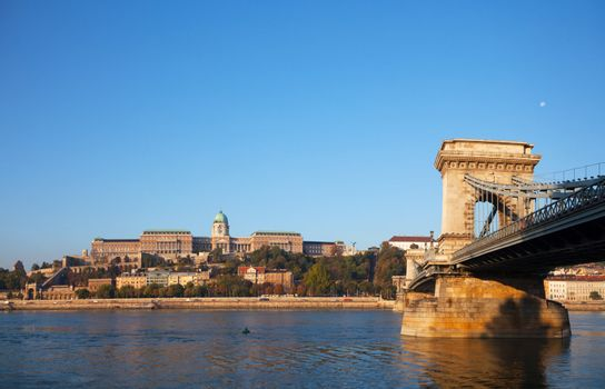 Szechenyi suspension bridge in Budapest, Hungary in the morning