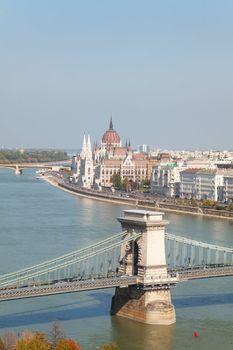 Szechenyi suspension bridge in Budapest, Hungary the Parliament