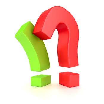 Big exclamation mark and question mark in opposition on the white background
