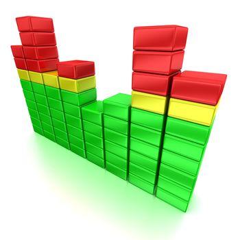 3d illustration of colorful equalizer pattern