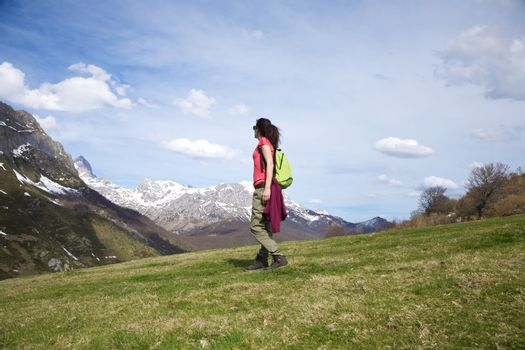 side walking on prairie at Picos de Europa