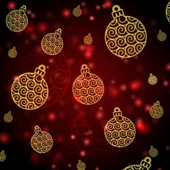 abstract red background with christmas balls