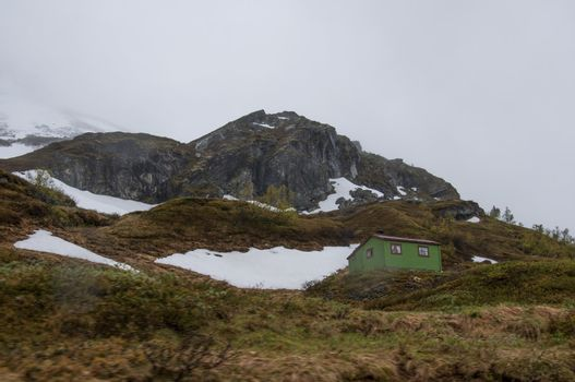 Log cabin on hillside