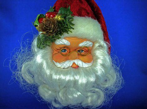Santa decoration on a blue background
