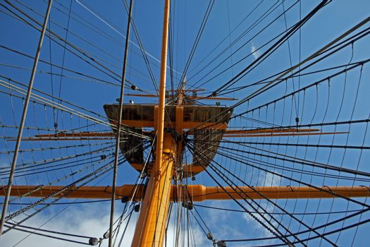 Crows nest rigging from mast of HMS Warrior